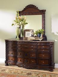 North Shore Traditional Dark Brown Wood Glass Dresser And Mirror - Ashley north shore bedroom set