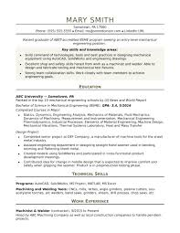 technical resume templates sle resume for an entry level mechanical engineer