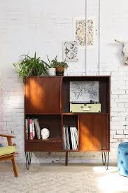 appealing square wooden media console in wall classic style with