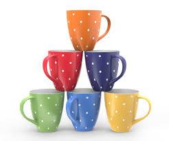 new 6 pcs mimi 16 ounce ceramic coffee mugs large polka dot