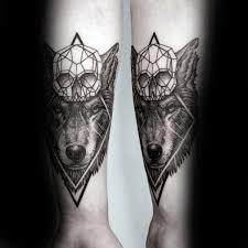 skull geometric wolf mens forearm tattoos adx