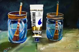 how to paint water in a glass jar recorded live with ginger cook