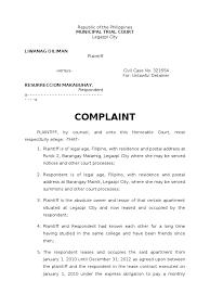 sample complaint for ejectment doc lease lawsuit