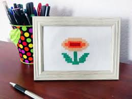 super mario bros fire flower cross stitch nintendo classic
