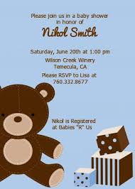 teddy baby shower invitations teddy blue baby shower invitations candles and favors