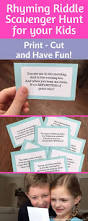 rhyming riddle scavenger hunt for your kids print cut and have