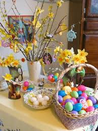 happy easter decorations beautiful easter decorations with eggs and bunnies