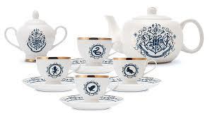 tea set harry potter blue and gold new bone china tea set thinkgeek