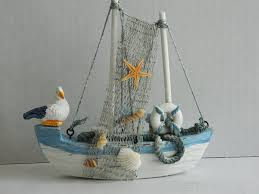 wooden fishing boat ornament co uk kitchen home