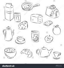 vector sketch clipart set breakfast food stock vector 62905855