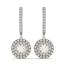 drop diamond earrings 14k white and gold drop diamond earrings with a