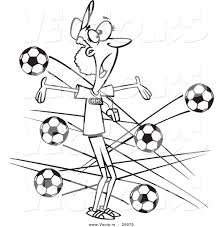 vector of a cartoon female soccer coach with balls flying at her