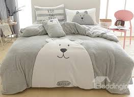 soft bed sheets full size cartoon bear pattern grey soft 4 piece fluffy bedding