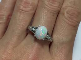 natural white opal pin fire white base perfect natural opal silver ring aaaa quality
