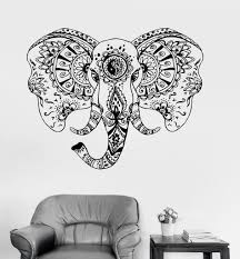 vinyl wall decal elephant animal tribal ornament stickers