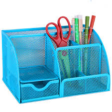 black blue mesh desk organizer office supplies caddy combination