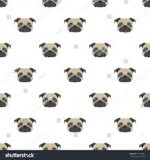 seamless vector pattern pug dog head stock vector 541512664