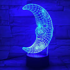 3d visual color changing led moon shape gift table