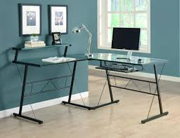 bureau en l black metal l shaped computer desk with tempered glass