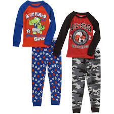 boys u0027 licensed 4 piece cotton pajama sleepwear set available in