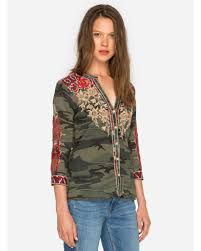 camo blouse johnny was s embroidered camo button shirt