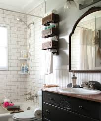 Antique Black Bathroom Vanity by White Brick Wall Tiles And Antique Black Vanity Cabinet For