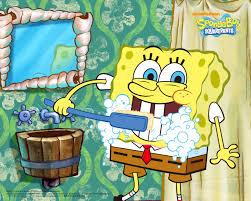 spongebob squarepants brushing his teeth cartoons wallpaper