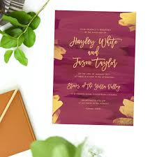 wedding invitations adelaide plum and gold burgundy wedding invitations