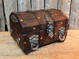 vintage wooden pirate treasure chest jewelry box heads