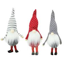 set of 3 decorative white gray santa gnome ornament