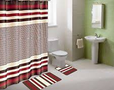 shower curtain matching covered fabric hooks bathroom set 13pc
