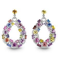 coloured rings jewelry images Multi color sapphire earrings jacob co timepieces fine png