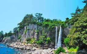 jeju island waterfall south korea wallpaper waterfalls