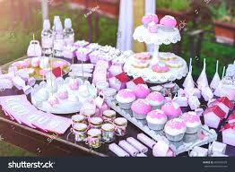 cakes candy and flowers dessert table kids birthday party cake stock photo 496947679