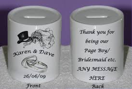 thank you wedding gifts page boy bridesmaid thank you moneybox personalised wedding gift
