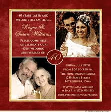 40th wedding anniversary gifts for parents 40 years of smiles photo invitation wedding anniversary