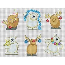 polar and reindeer card cross stitch designs