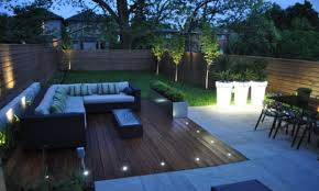 deck backyard ideas mesmerizing modern backyard idea with l shaped wicker sofa and