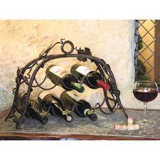 wrought iron wine rack 7 bottle