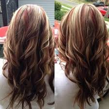 partial red highlights on dark brown hair red brown two toned hair color red highlights with blonde and