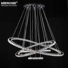 Diamond Chandeliers Mirror Stainless Steel Crystal Diamond Lighting Fixtures 4 Rings