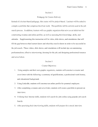 Profile For A Resume Final Course Outline