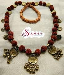 designer handmade jewellery handmade rudraksha coins necklace set and brass handmade fashion