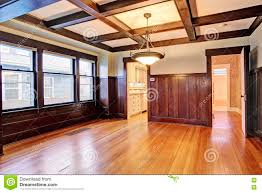 Wood Paneling Walls Empty Room With Wood Paneled Walls And Coffered Ceiling Stock