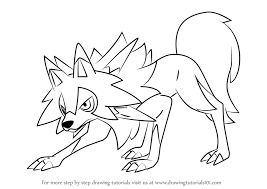how to draw coloring pages learn how to draw lycanroc midday form from pokemon sun and moon