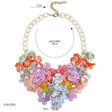 bib necklace flower images Discount girl 39 s crystal flower pendant bib necklace exaggerated jpg
