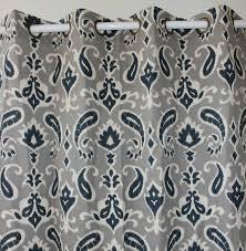 Navy And Grey Curtains New Arrival Only 1 Navy Paisley Flower Linen Curtains Window