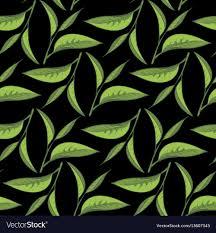 black backdrop tea leaves pattern with black backdrop royalty free vector