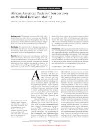 african american patients u0027 perspectives on medical decision making