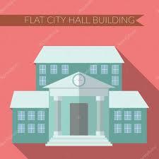 flat design modern vector illustration of city hall building icon